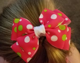 Pink poka dotted bow