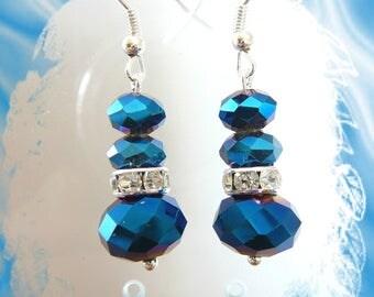 Blue Crystal and rhinestone earrings
