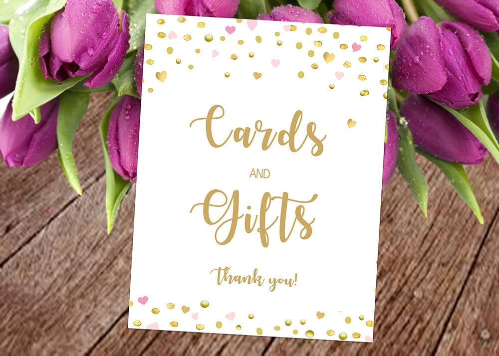 Cards And Gifts Wedding Sign Printable Gold Confetti And Glitter