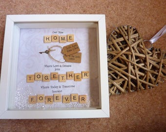 First Home Gift New Home Gift Housewarming Gift Personalised Picture Frame Gift Keepsake Scrabble Keys