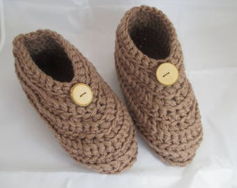 Brown booties 37/38 Interior or night crochet wool, mothers day gift