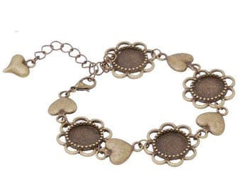Bronze support heart 12 mm cabochons and chain bracelet.