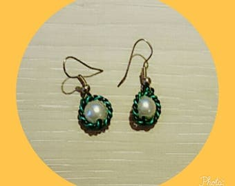 Green and black with White Pearl Earrings