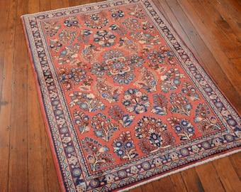 Vintage Persian Sarouk Rug, 3'3''x5', Rose/Blue, All wool pile