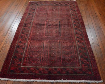 Authentic Persian Baluch Rug, 4u00274u0027u0027x7u0027, Red/Black
