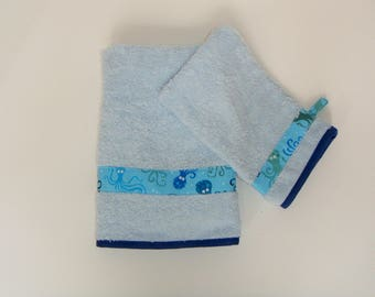 Towel and washcloth set boy Octopus