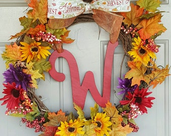 Handmade Fall Wreath personalized with triple bow
