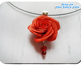 "Set of decorations ""Fire Rose"" (Set of jewelry, made in ukraine,  Red Earrings)"