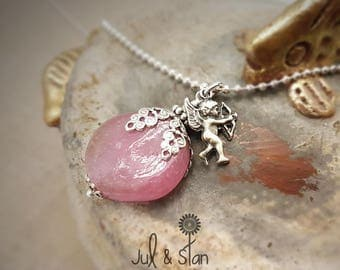 Vintage silver /Cupidon pink love necklace