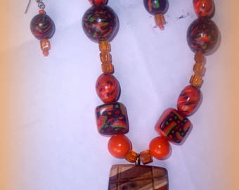 SET ORANGE wood and polymer clay for the summer! ***