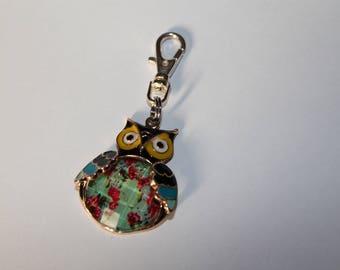 OWL blue Metal Keychain