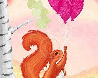 Red Squirrel A4 or A3 Print