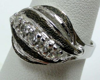 Sterling Dinner Ring Silver Tone with Rhinestones Very Pretty size:6 ET7795