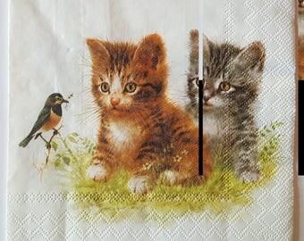 """Napkin """"Cats"""" dimension: 33 x 33 cm"""