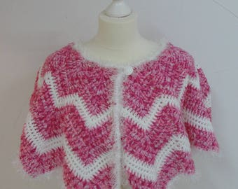 Pilgrim, warm crocheted pink and white shoulders