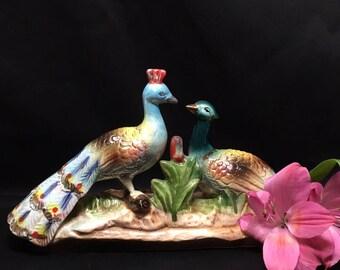 Iridescent Peacock Figurine