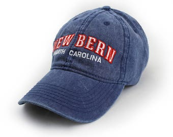 New Bern Embroidered Hat, Navy, Red and White