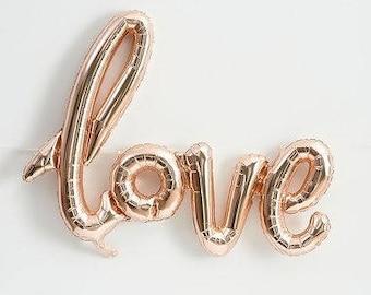 "40"" Rose Gold script LOVE Balloon engagement party decorations balloon wedding cursive rose gold bridal shower bachelorette party decor"