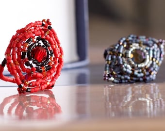 Woven with delica beads ring