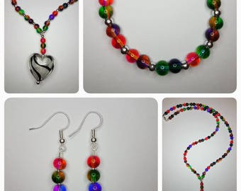 Rainbow beaded jewellery set