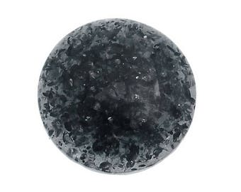 Black round cabochon resin crackled (x 4)