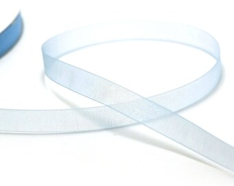 5 m organza Ribbon 12 mm plain sky blue