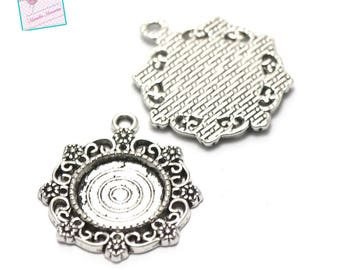 4 holders for cabochon pendant round 14mm, silver, 003