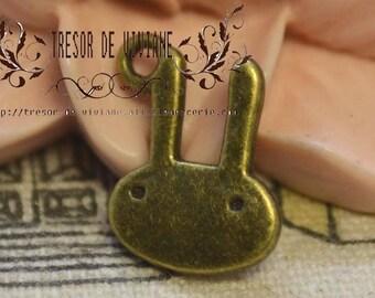 Set of 15 QDW173 Bronze Bunny pendant