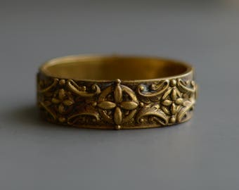 Antique Victorian Revival Hinged Repousse Brass Gilt wash Cuff Bracelet