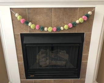 Multi-Colored Pompom Garland (Ivory, Lime, Pink, and Teal)