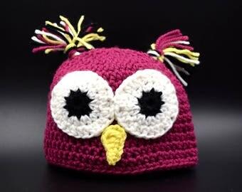 Crochet Owl Baby Hat
