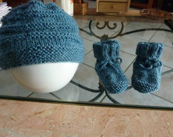 Hat and slippers baby 3 months