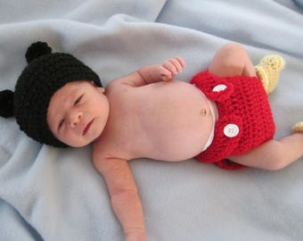 Crochet Mickey Mouse hat, diaper cover, and booties