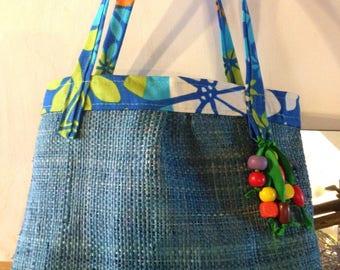 R and faux blue beach bag