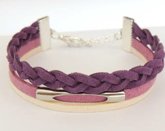 Purple, pink and Ecru suede MULTISTRAND bracelet