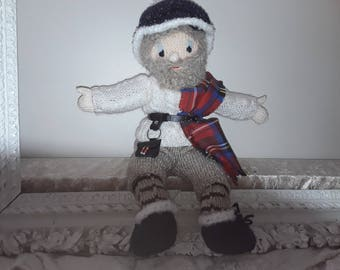 Knitted doll sweater with cables and tartan Scottish grandfather