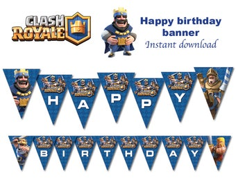 Clash Royale  banner Printable  - DIGITAL file (Non personalized)  Birthday party Printable - INSTANT DOWNLOAD