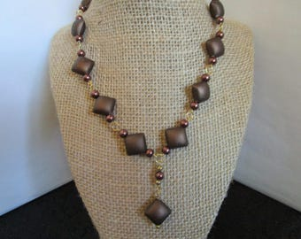 Brown  Diamond Shape Beaded Necklace