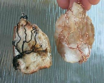 Quartz Tree of Life Pendants / Copper and Black Wire