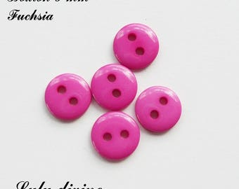 Set of 5 buttons round 9 mm 2-hole: Fuchsia