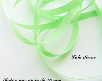 Ribbon 10 mm, sold in 2 meters grosgrain: lime green