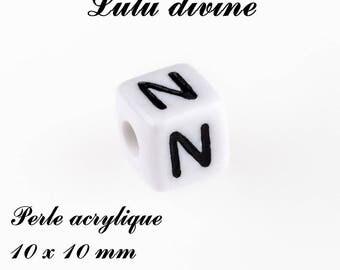 Alphabetical 10 x 10 mm white acrylic bead: letter N (set of 10)