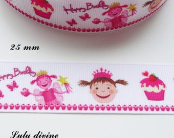Fairy Princess cake 25 mm white grosgrain Ribbon sold by 50 cm