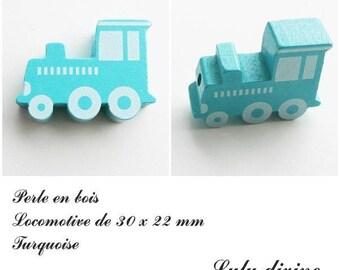 30 x 22 mm wood bead, Pearl flat Train / Locomotive: Turquoise