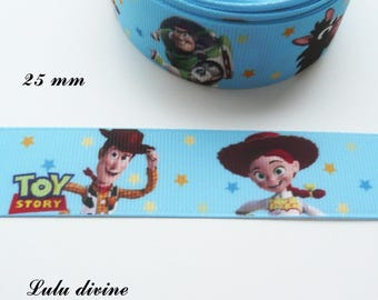 Light blue grosgrain Ribbon stars yellow/orange/blue Toy Story of 25 mm by 50 cm