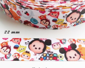 Tsum Tsum 22 mm white grosgrain Ribbon sold by 50 cm