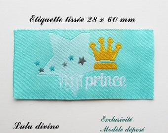 Woven label - little prince - 28 x 60 mm, turquoise wreath