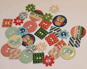 "assortment of 30 epoxy buttons decorative collection ""Summer Time"""