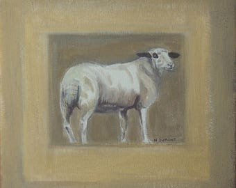 painting portrait animal sheep