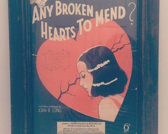 Any Broken Hearts to Mend? (1938) Recycled Sheet Music Art/ Print (FREE POSTAGE)